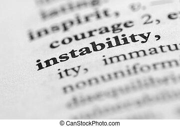 serie, -, diccionario, inestabilidad