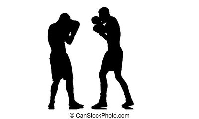 Serie different blows to the head in a box. Silhouette