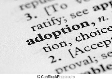 serie, -, dizionario, adozione