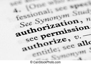 serie, -, dizionario, autorizzazione