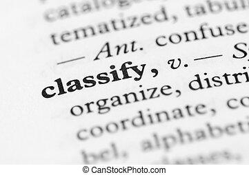 serie, -, dizionario, classificare
