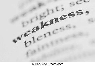 serie, -, dizionario, debolezza