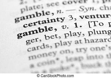 serie, -, dizionario, giocare d'azzardo