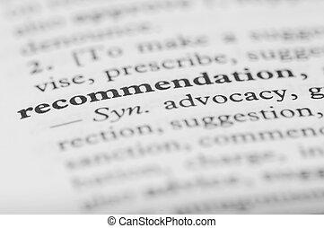 serie, -, dizionario, raccomandazione