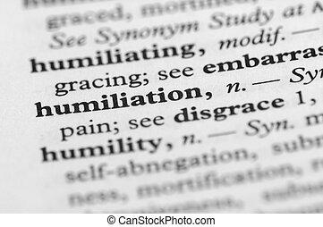 serie, -, dizionario, umiliazione