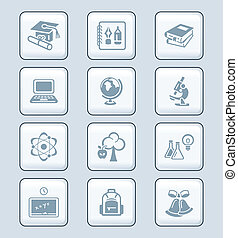 serie, educación, tecnología, |, iconos