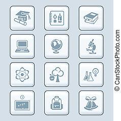 serie, educazione, tecnologia, |, icone