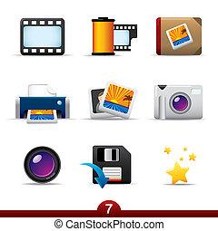 serie, fotografía, -, icono