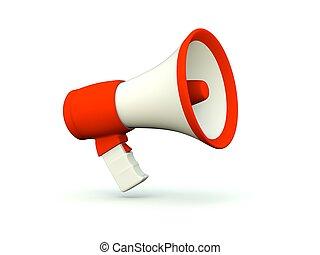 serie, icon., megafono, rosso