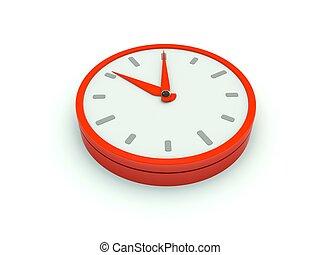 serie, icon., röd, klocka