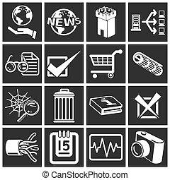 serie, icona, set, internet, web