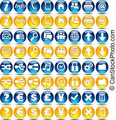 serie, icone, -, lucido, web