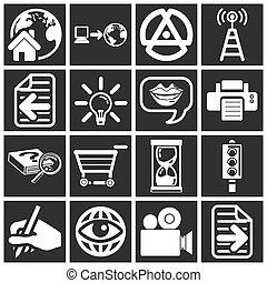 serie, icono, conjunto, internet, tela