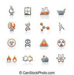 serie, iconos, grafito, /, ciencia
