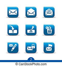 serie, iconos, no.7..smooth, correo
