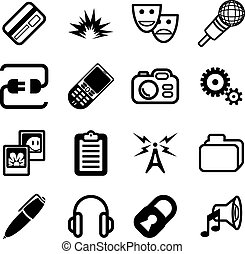 serie, informática, red, icono