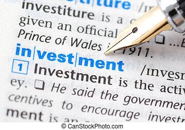 serie, -, investimento, dizionario