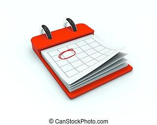 serie, kalender, icon., röd