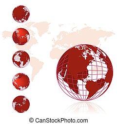 serie, klot, 3, karta, värld