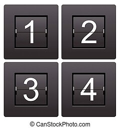 serie, marcador, numérico, 1, 4, mecánico