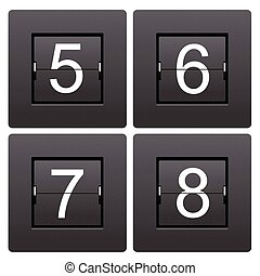 serie, marcador, numérico, 5, mecánico, 8