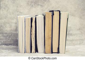 serie, mensola libro, concreto