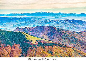 serie, montagna, paesaggio, colorito