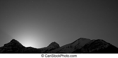 serie, montagna, silhouette, notte