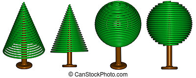Serie of rendered trees