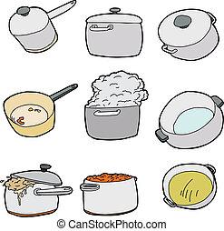serie, ollas, cocina
