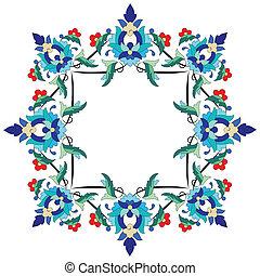 serie, ottomano, disegno, motivi, sevent