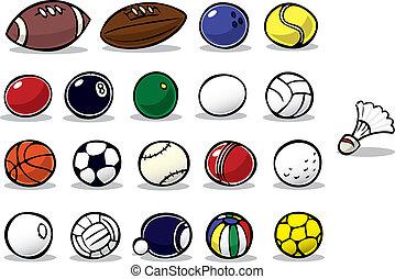 serie, pelota, caricatura, iconos