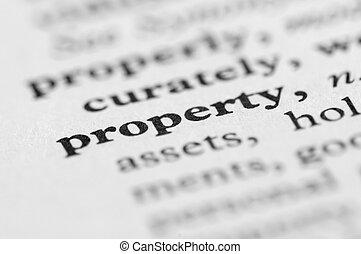 serie, proprietà, -, dizionario