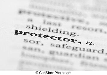 serie, protettore, -, dizionario