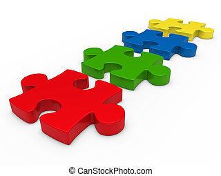 serie, puzzle, 3d