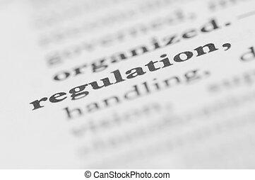 serie, regulación, -, diccionario