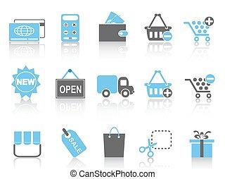 serie, sätta, inköp, blå, ikonen