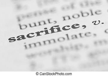 serie, sacrificio, -, diccionario