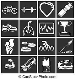 serie, salud, conjunto, icono, condición física