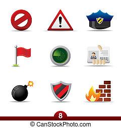 serie, -, seguridad, icono