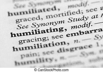 serie, -, umiliando, dizionario