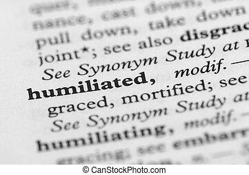 serie, -, umiliato, dizionario