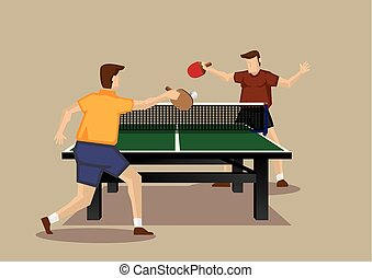 serie, vector, tenis de mesa, caricatura, acción, juego, ...