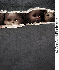 serie, vendimia, -, oscuridad, juguetes, fantasmal