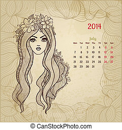"series., beauty"", årgång, artistisk, ""woman, kalender, 2014., juli"