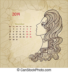 "series., beauty"", december, artistisk, ""woman, årgång, kalender, 2014."