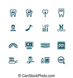 series, dentale, iconerne, |, mikro-
