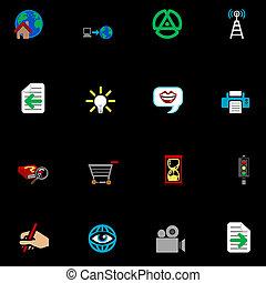 series, ikon, sæt, internet, væv