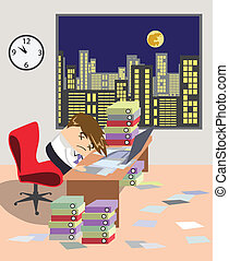 Vector image from series Job and people with the young worker at the office is working like a dog