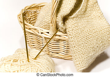 series: object on white: clew, knitting needle, basket